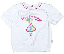 MMDadak Dievčenské tričko s potlačou tanečnice Miss Popular - biele, 110 cm