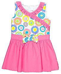 MMDadak Dievčenské tunika s mašľou Smile - ružovo-biela, 128 cm