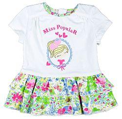 MMDadak Dievčenské tunika s potlačou a volániky Miss Popular - biela, 104 cm