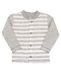 Nini Chlapčenský pruhovaný kabátik - sivý, 56 cm