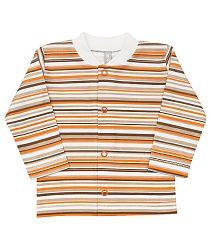 Nini Detský kabátik pruhovaný - bielo-oranžovo-hnedý, 56 cm