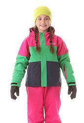 Nordblanc Dievčenská lyžiarska bunda Want - ružovo-zeleno-čierna