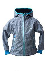 O'Style Chlapčenská softschellová bunda s tučniakom - šedo-modrá, 104 cm