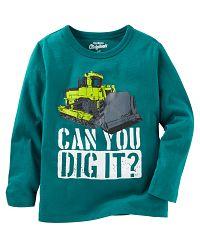 Oshkosh Chlapčenské tričko s bagrom - zelené, 98 cm
