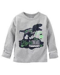 Oshkosh Chlapčenské tričko s dinosaurom - šedé, 104 cm