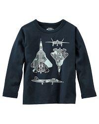 Oshkosh Chlapčenské tričko s lietadlom - čierne, 98 cm