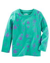 Oshkosh Detské tričko s hviezdičkami - zelené, 68 cm