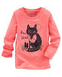 Oshkosh Dievčenské tričko s líškou - oranžové, 98 cm