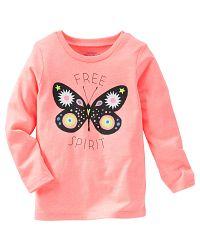 Oshkosh Dievčenské tričko s motýlikom - oranžové, 74 cm