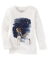 Oshkosh Dievčenské tričko s nočným motívom - biele, 98 cm