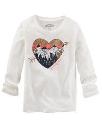Oshkosh Dievčenské tričko so srdiečkom a horami - biele, 92 cm