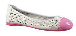 Peddy Dievčenské balerínky s dekoratívnou perforáciou - krémovo-ružové, EUR 30