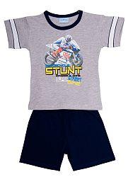 Pettino Chlapčenské pyžamo s motorkou - sivé, 110 cm