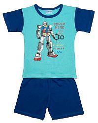 Pettino Chlapčenské pyžamo s robotom - tyrkysové, 116 cm
