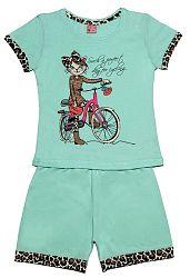 Pettino Dievčenské pyžamo s mačkou - mätové, 110 cm
