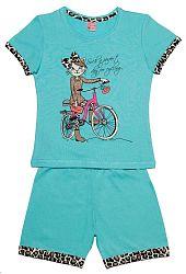 Pettino Dievčenské pyžamo s mačkou - tyrkysové, 122 cm