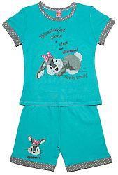 Pettino Dievčenské pyžamo so zajačikom - tyrkysové, 110 cm