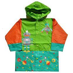 PIDILIDI Chlapčenská pláštenka s robotom - oranžovo-zelená, 128 cm
