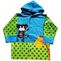 PIDILIDI Detská pláštenka s opičkou a žirafou - zeleno-modrá, 104 cm