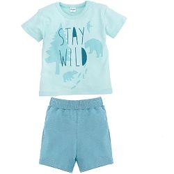 Pinokio Chlapčenské pyžamo s lesnými zvieratkami, krátky rukáv - svetlo modré, 80 cm