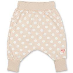 Pinokio Dievčenské bodkované nohavice / tepláčky - béžové, 86 cm