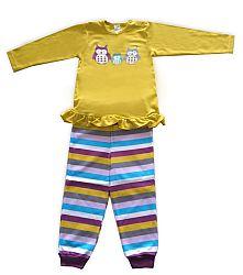 Pinokio Dievčenské pruhované pyžamo so sovami, 80 cm