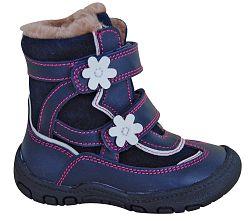 94661f0973e4 Protetika Dievčenské zimné topánky s kvietkami Diana - modré