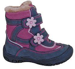 Protetika Dievčenské zimné topánky s kvietkami Diana - šedé, EUR 26