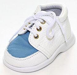První krůčky Chlapčenské kožené topánočky TR - biela / modrý priehlavok, EUR 19