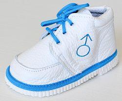 První krůčky Chlapčenské kožené topánočky Znak chlapec - biela / svetlo modrý lem, EUR 19