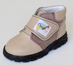 První krůčky Detské kožené celoročné topánky Kos - svetlo hnedá / tmavo hnedá, EUR 21
