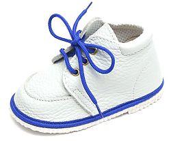 První krůčky Detské kožené topánočky - biele / modrý lem, EUR 20