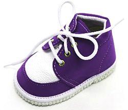 První krůčky Detské kožené topánočky - modro-fialová / biela, EUR 21