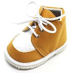 První krůčky Detské kožené topánočky - okr / biela, EUR 18