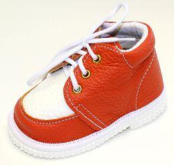 První krůčky Detské kožené topánočky - oranžová / biela, EUR 18
