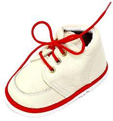 První krůčky Detské kožené topánočky - slonová kosť / červený lem, EUR 20