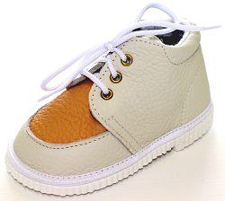 První krůčky Detské kožené topánočky - slonová kosť / pomarančová, EUR 20