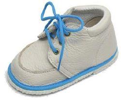 První krůčky Detské kožené topánočky - slonová kosť / svetlo modrá, EUR 22