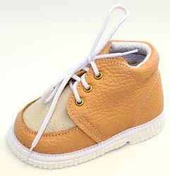 První krůčky Detské kožené topánočky - slonová kosť / tehlová, EUR 18