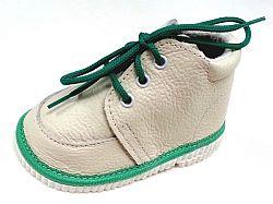 První krůčky Detské kožené topánočky - slonová kosť / zelená, EUR 18