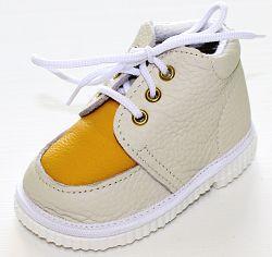 První krůčky Detské kožené topánočky - slonová kosť / žltá, EUR 19