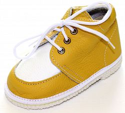 První krůčky Detské kožené topánočky - žltá / biela, EUR 18