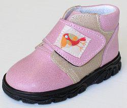 První krůčky Dievčenské kožené celoročné topánky Kos - svetlo ružová / svetlo hnedá, EUR 19