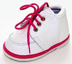 První krůčky Dievčenské kožené topánočky - biele / fuchsiová lem, EUR 18