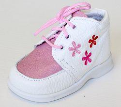 První krůčky Dievčenské kožené topánočky Kvetinky TR - biela / ružový priehlavok, EUR 22