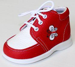 První krůčky Dievčenské kožené topánočky Motýlik TR - červená / biely priehlavok, EUR 22