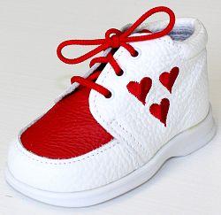 První krůčky Dievčenské kožené topánočky Srdiečka TR - biela / červený priehlavok, EUR 22