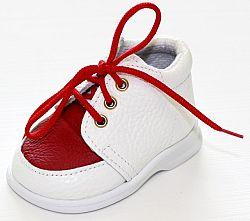 První krůčky Dievčenské kožené topánočky TR - biela / červený priehlavok, EUR 19