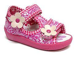 Ren But Dievčenské vzorované papučky s dvoma kvetinkami - ružové, EUR 20