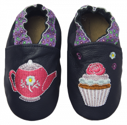 Rose et Chocolate Dievčenské topánočky s kanvičkou a tortičkami Classicz, tmavo modré, EUR 22/23